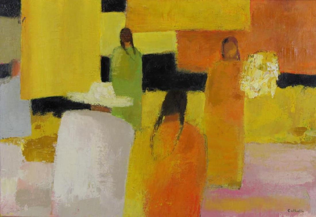 """CATHELIN, Bernard. Oil on Canvas """"Marche"""