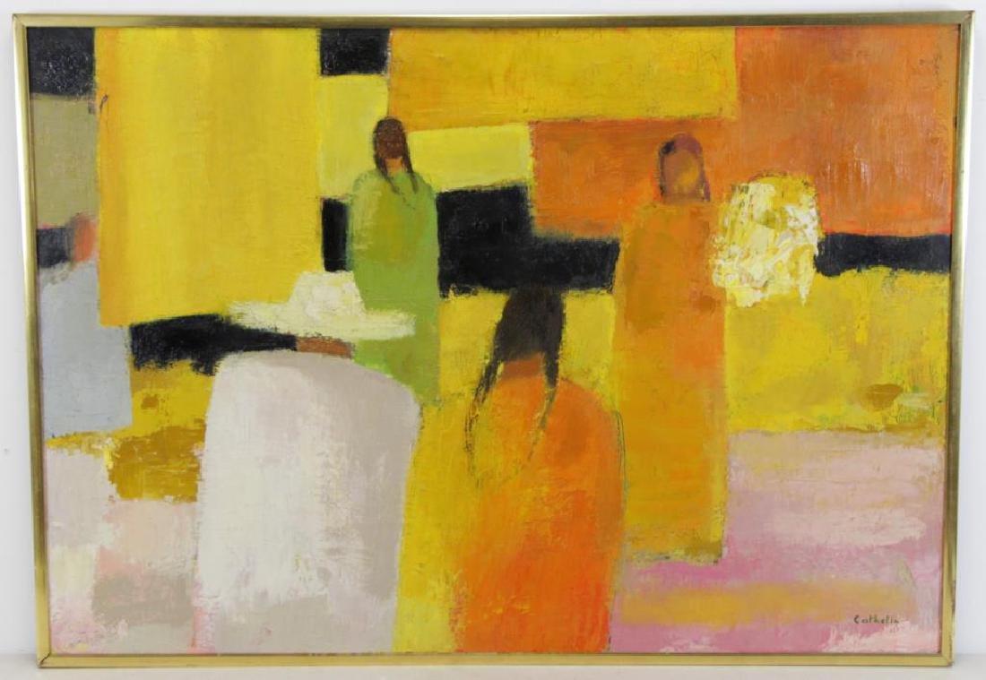 """CATHELIN, Bernard. Oil on Canvas """"Marche - 2"""