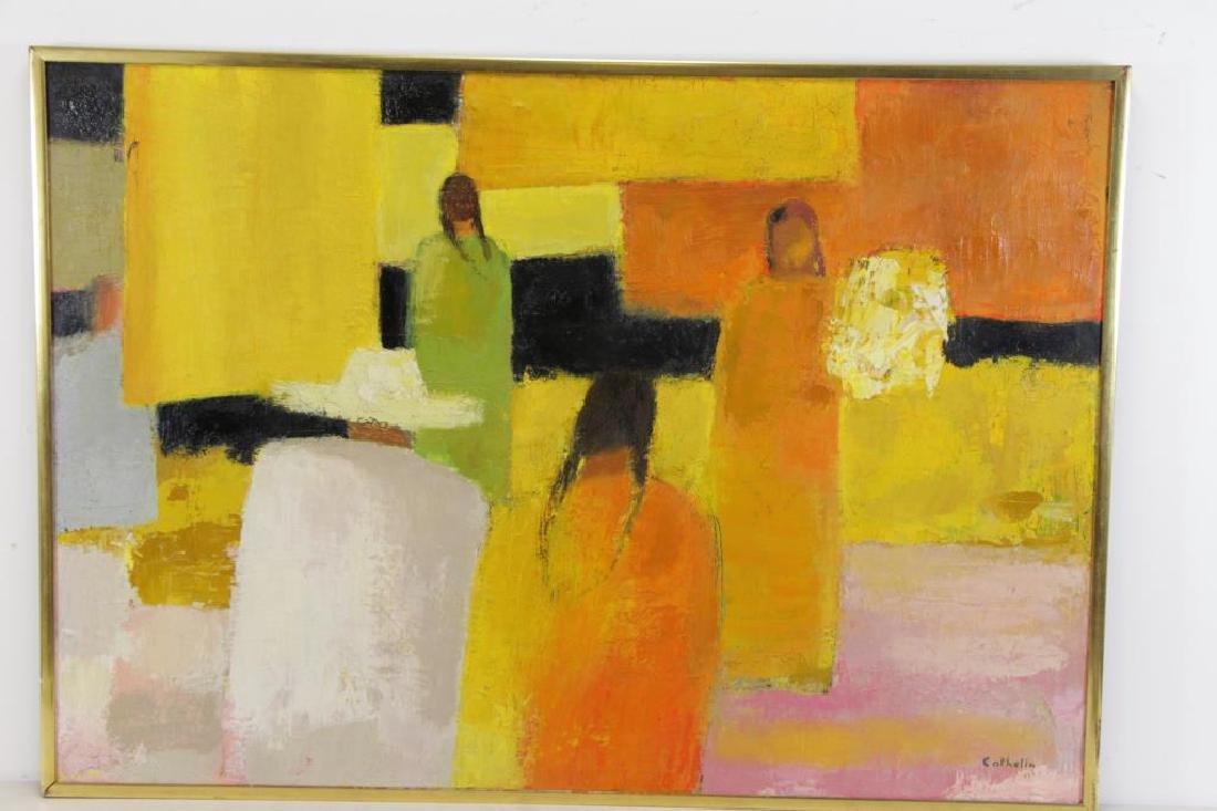 """CATHELIN, Bernard. Oil on Canvas """"Marche - 4"""