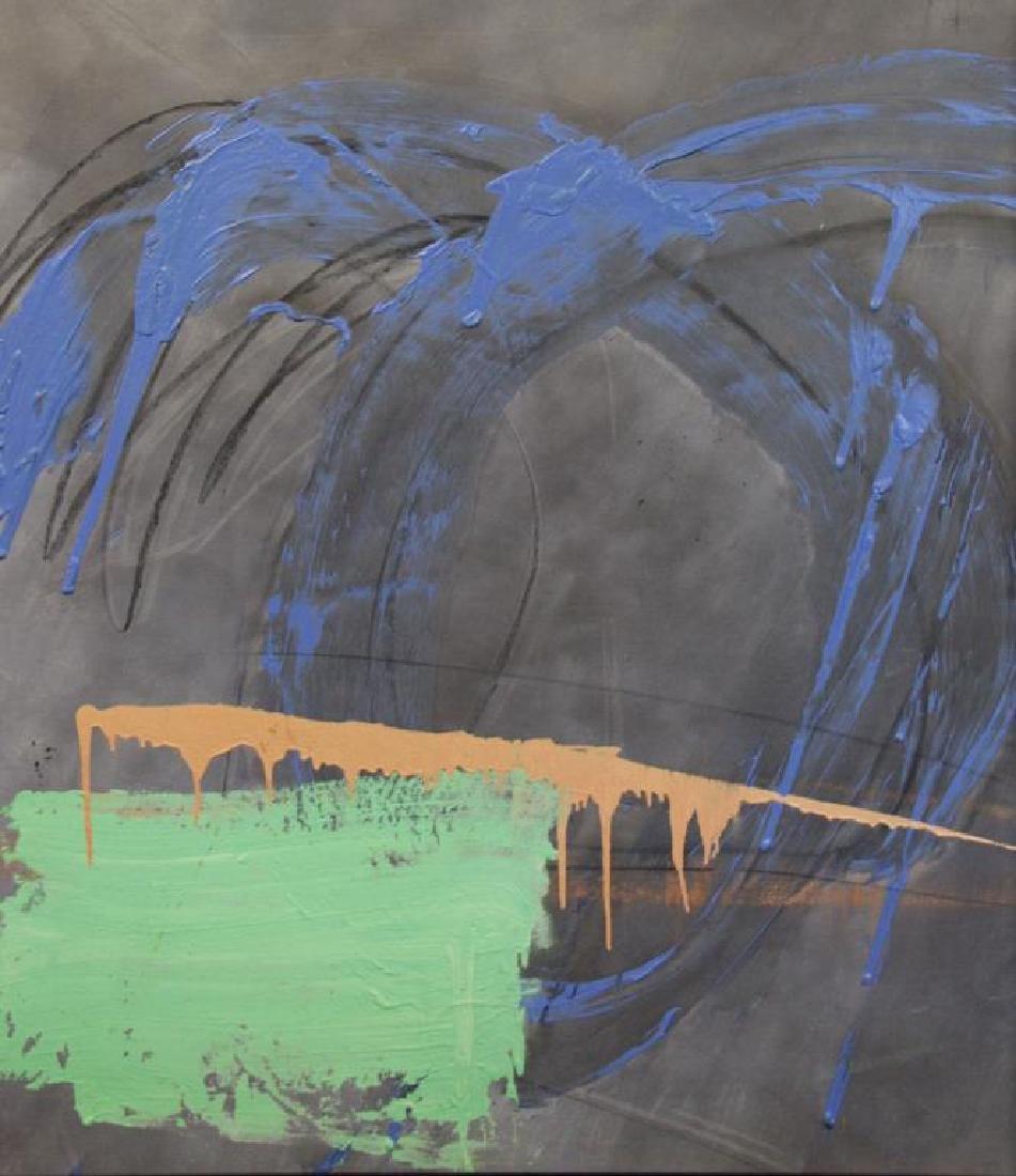 "TINT, Francine. Acrylic on Canvas. ""Horseracing""."