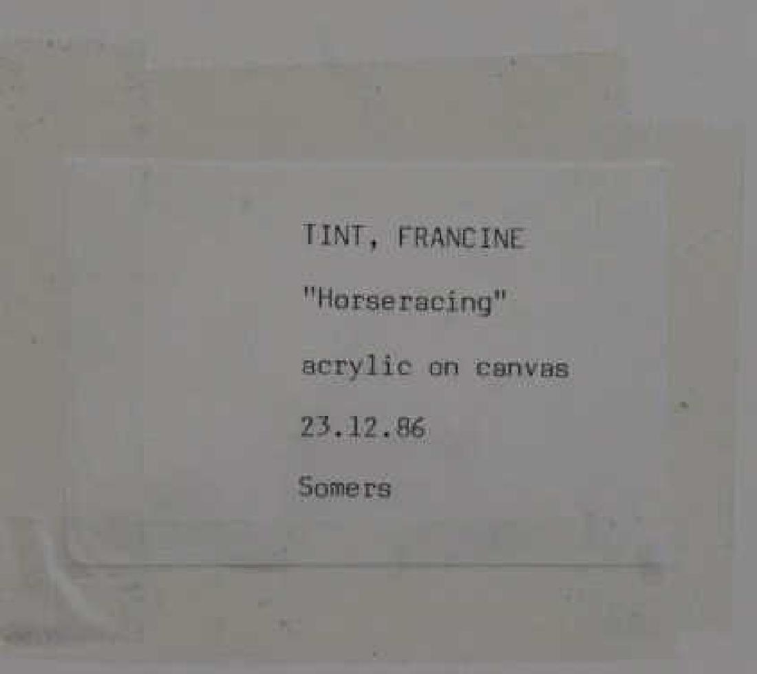 "TINT, Francine. Acrylic on Canvas. ""Horseracing"". - 8"