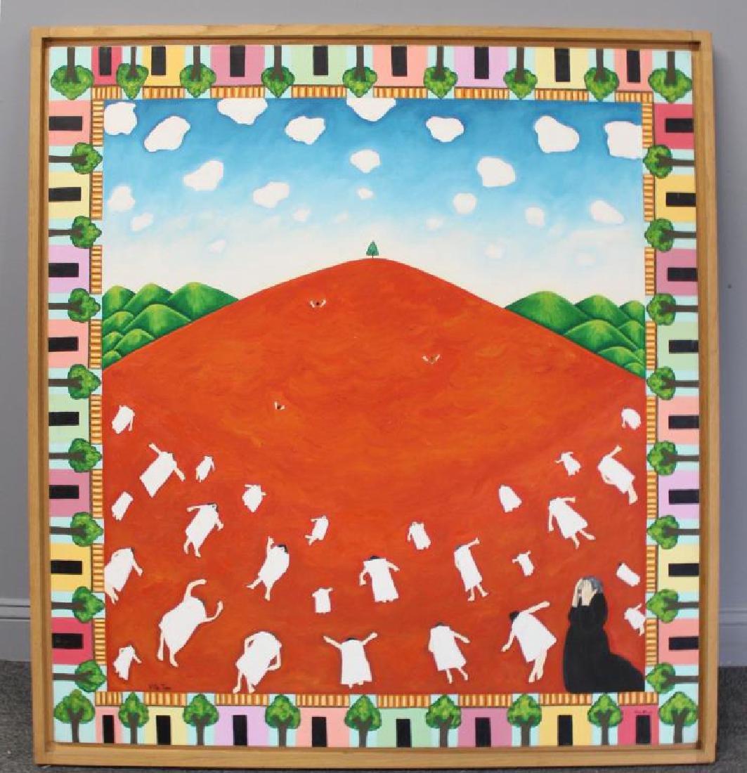 """GILMOUR DE URIBE, Ethel. Oil on Canvas. """"Villa - 2"""