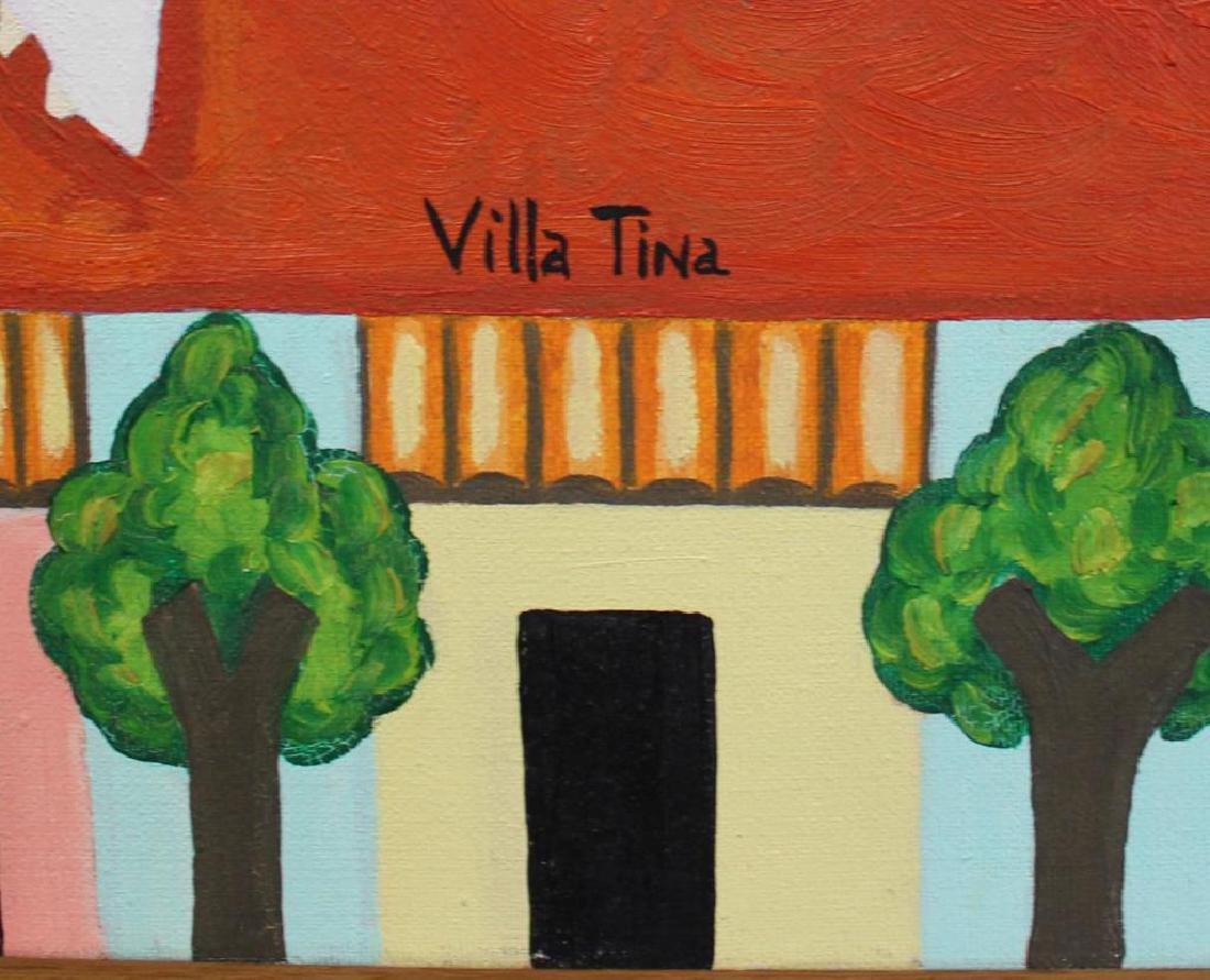 """GILMOUR DE URIBE, Ethel. Oil on Canvas. """"Villa - 3"""