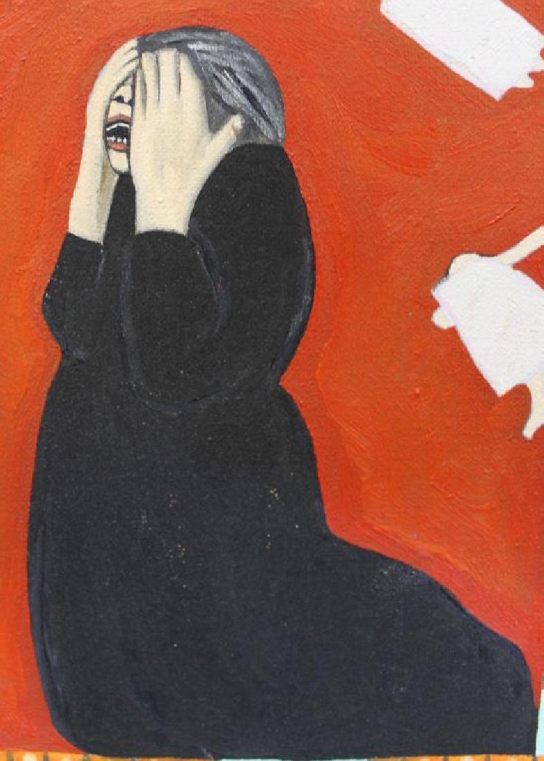 """GILMOUR DE URIBE, Ethel. Oil on Canvas. """"Villa - 5"""