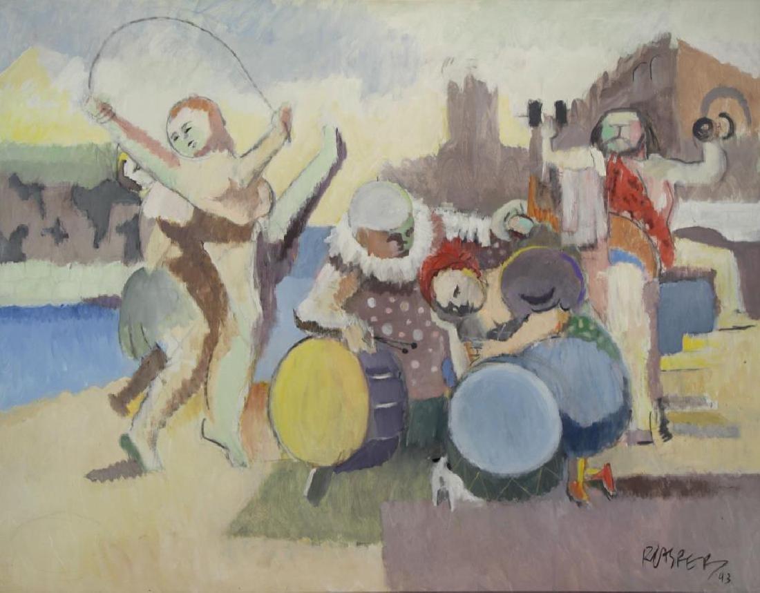 """CASPER, Robert. Oil on Canvas, """"Carnival Group"""""""