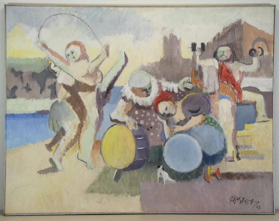 """CASPER, Robert. Oil on Canvas, """"Carnival Group"""" - 2"""