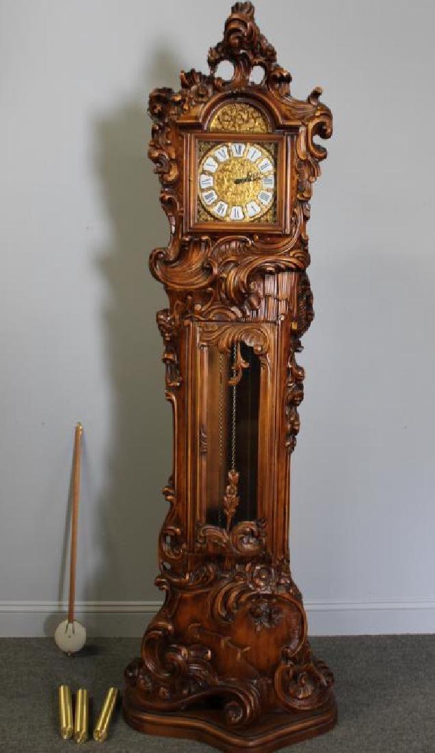 Italian Rococo Carved Wood Tallcase Clock
