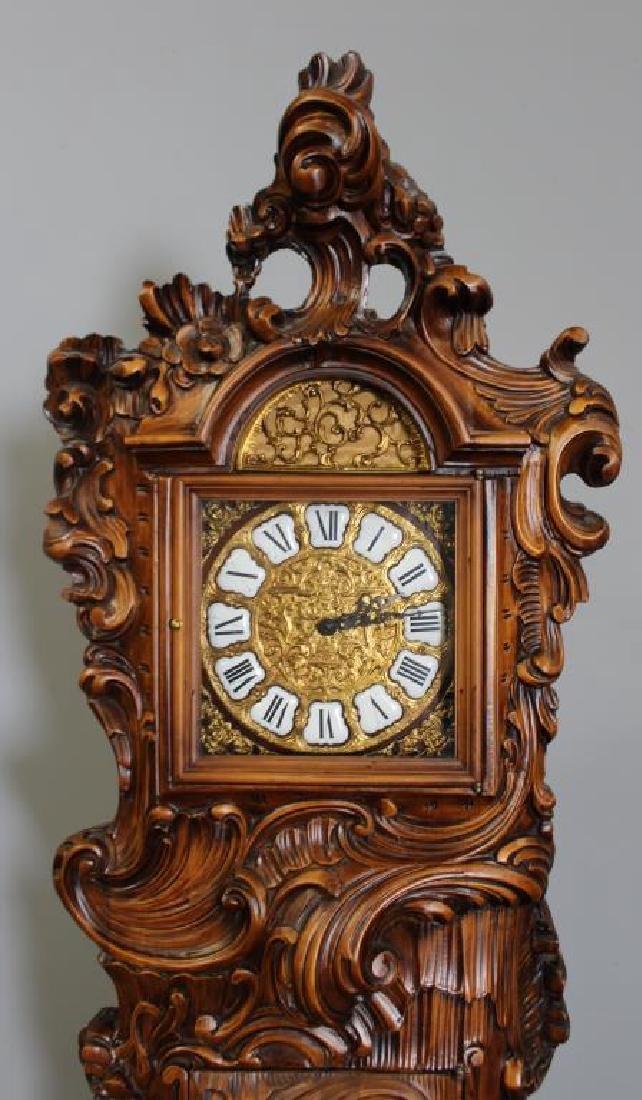 Italian Rococo Carved Wood Tallcase Clock - 3