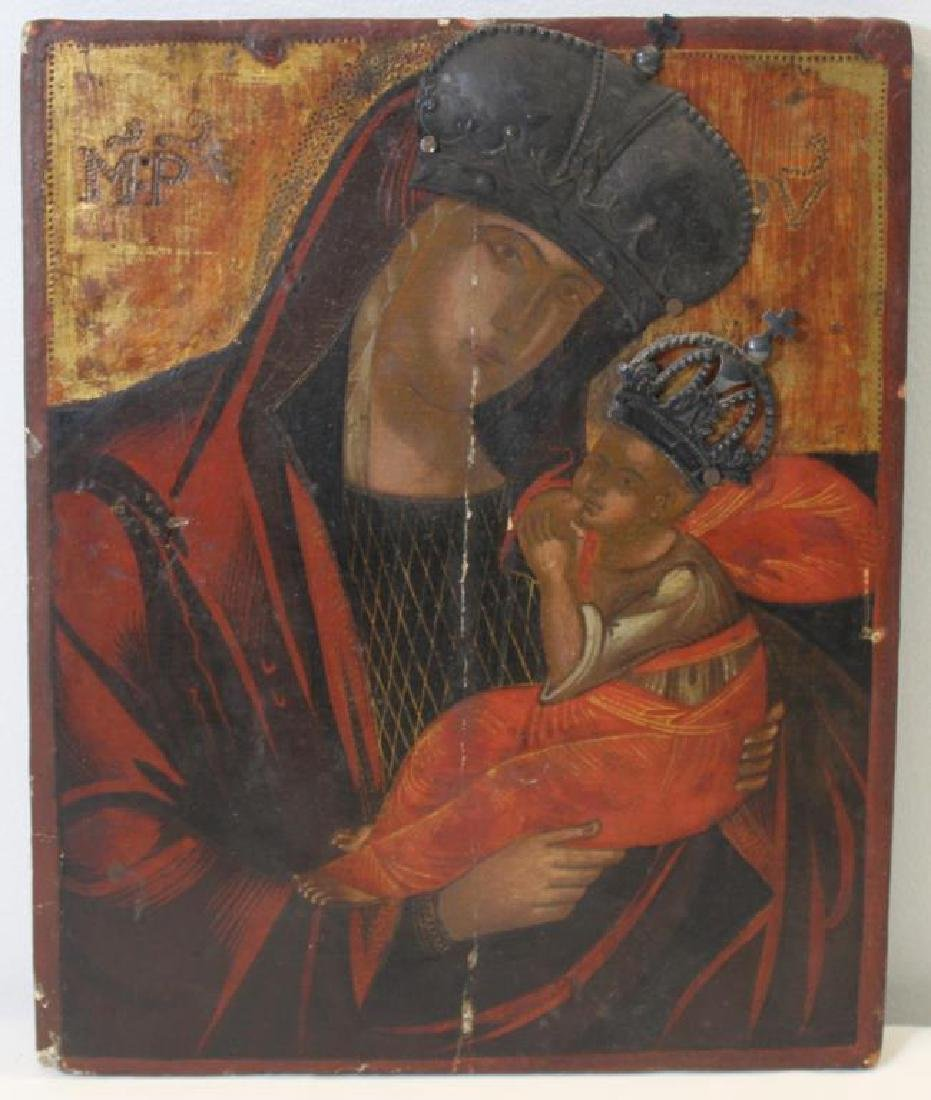Antique/Vintage Russian Icon of Madonna and Child.