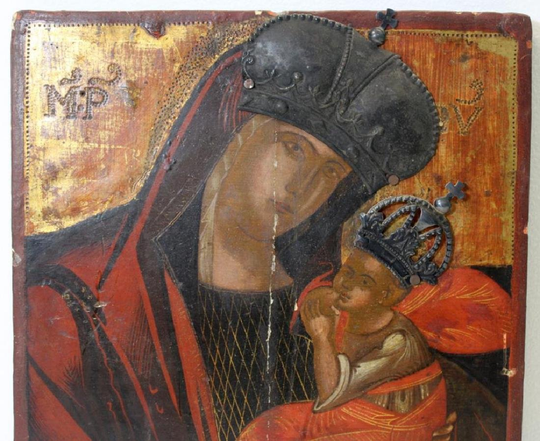 Antique/Vintage Russian Icon of Madonna and Child. - 3