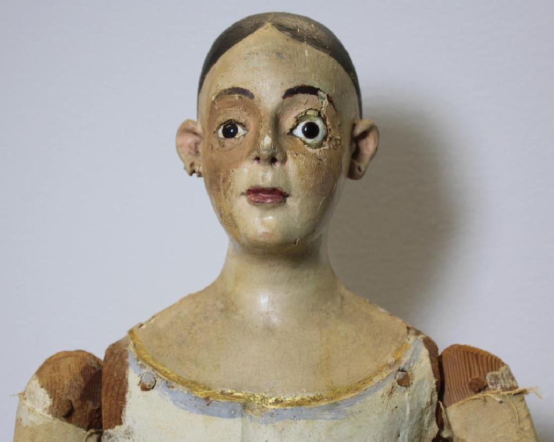 Antique Carved Wood and Painted Santos Cage Doll - 2