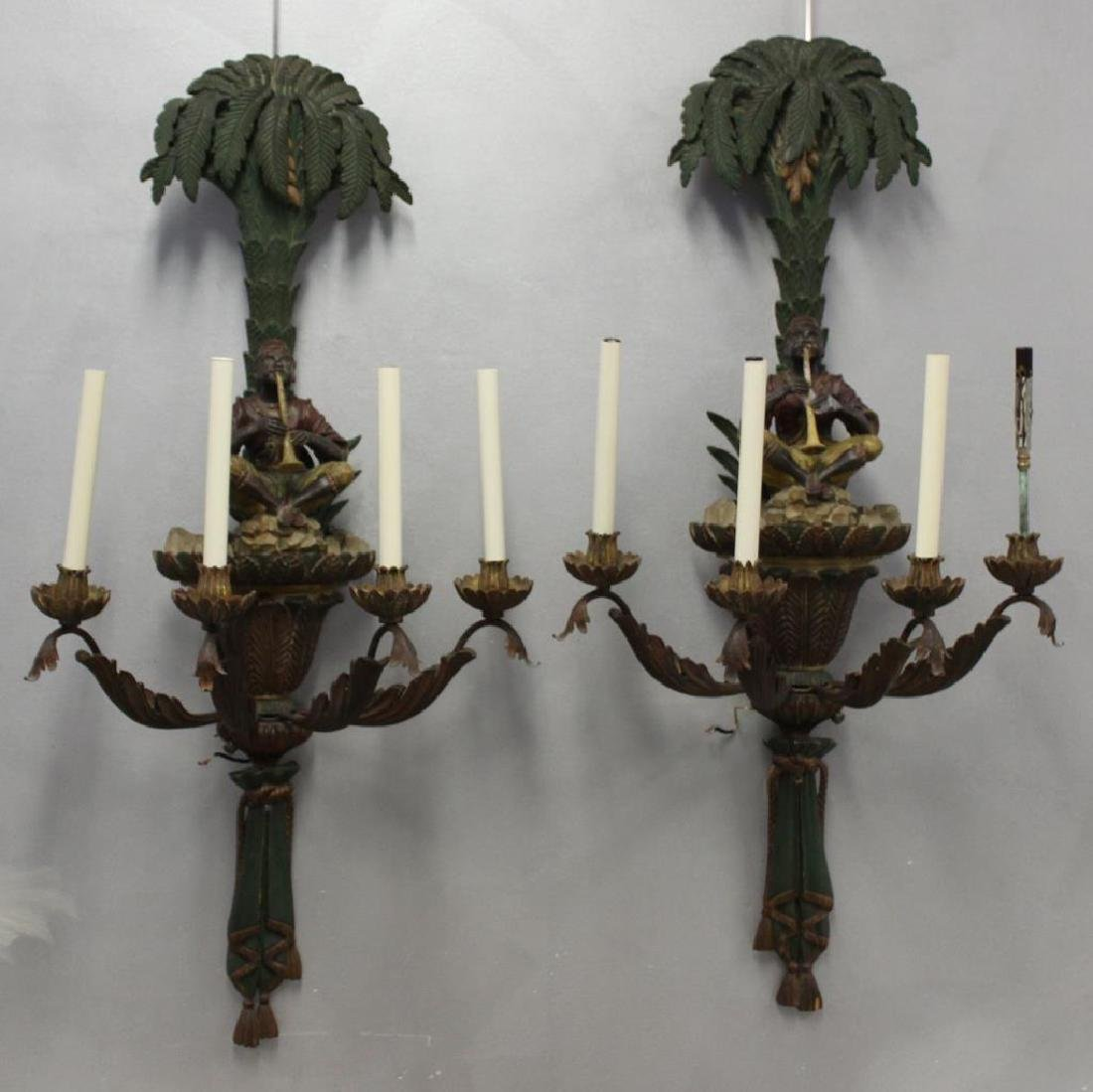 Magnificent Pair of Carved Wood Palm Tree Form
