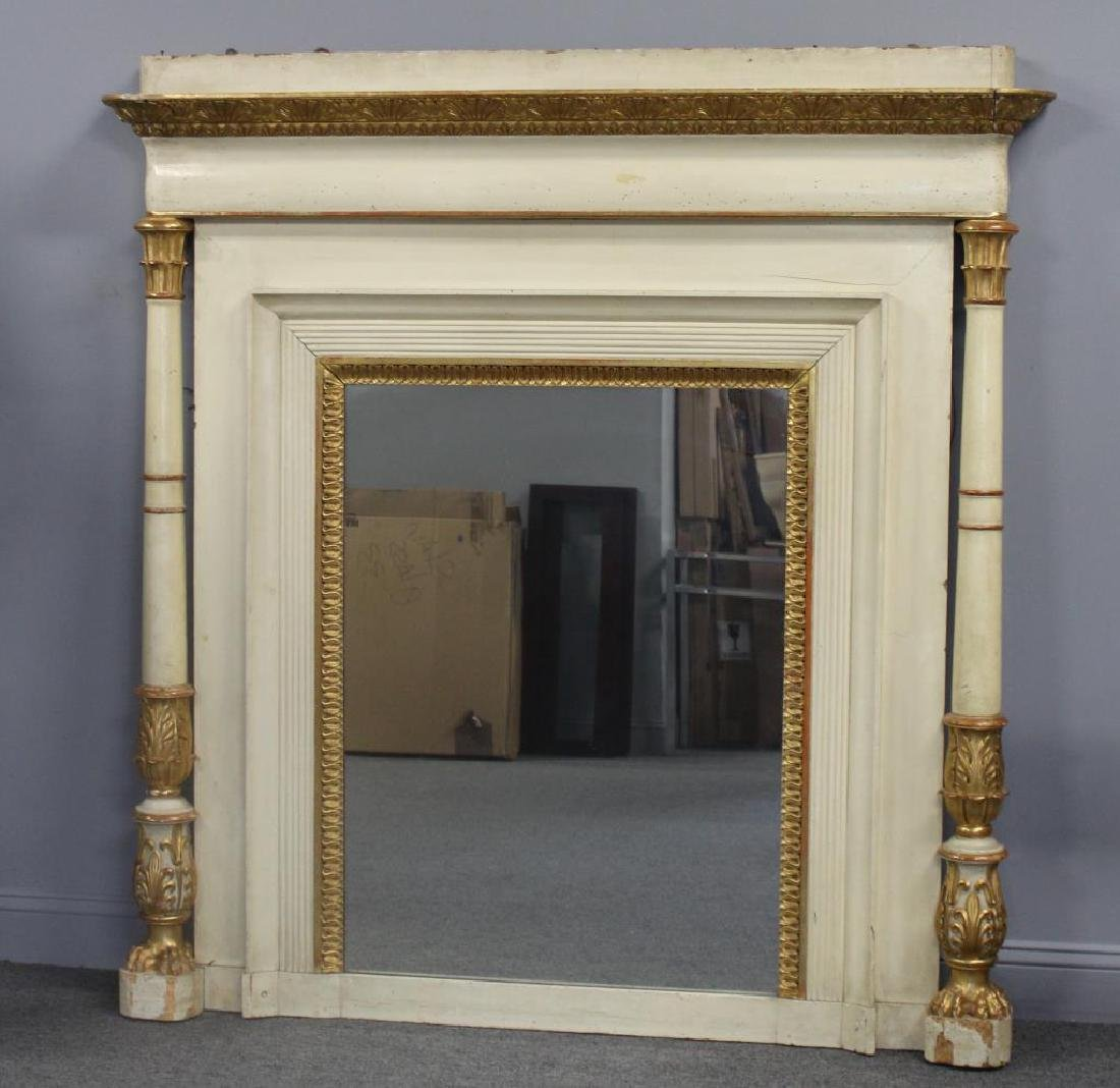 19th Century Paint and Gilt Decorated Over Mantel.