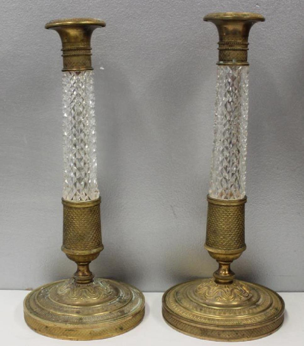 Pair of Fine Quality Antique Bronze and Cut Glass
