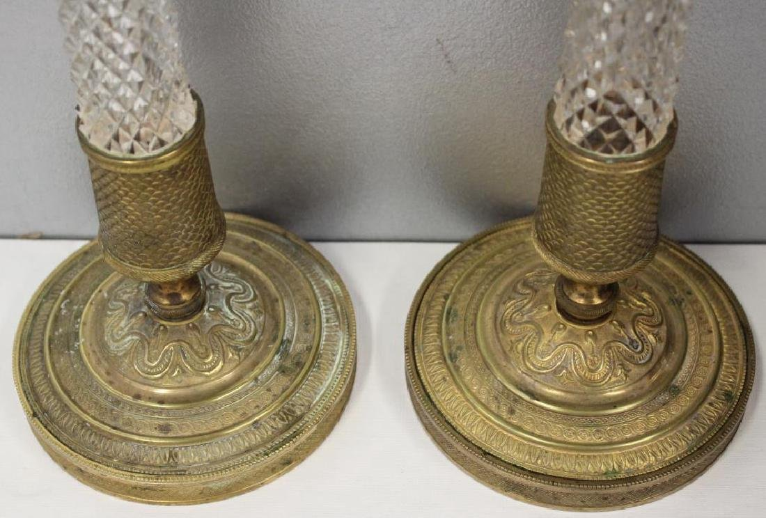 Pair of Fine Quality Antique Bronze and Cut Glass - 2