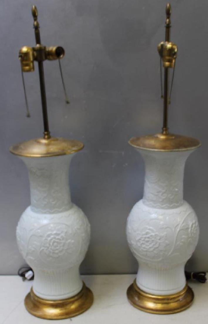 Pair of Vintage Carved Porcelain Lamps.