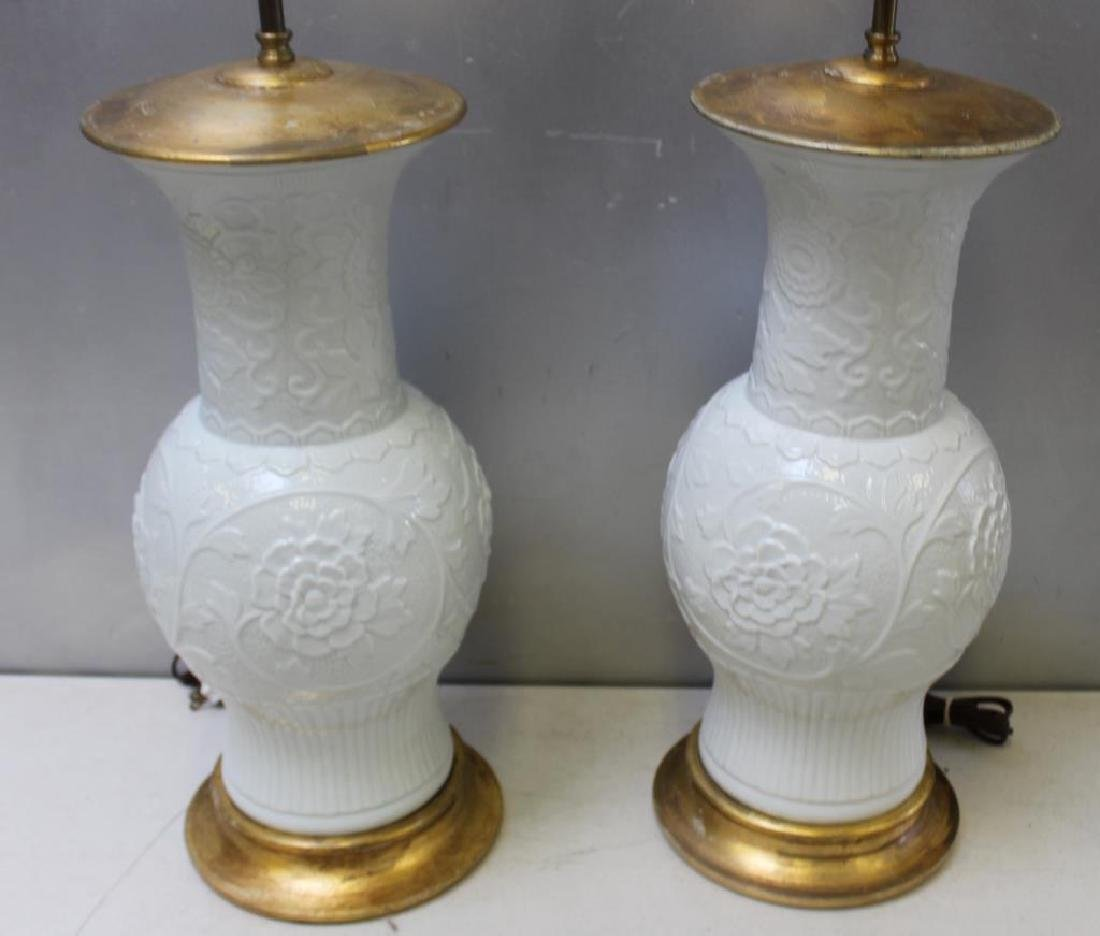 Pair of Vintage Carved Porcelain Lamps. - 2
