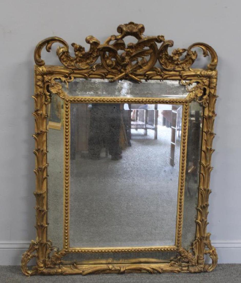 19 Century Carved Giltwood and Gessoe Mirror. - 2