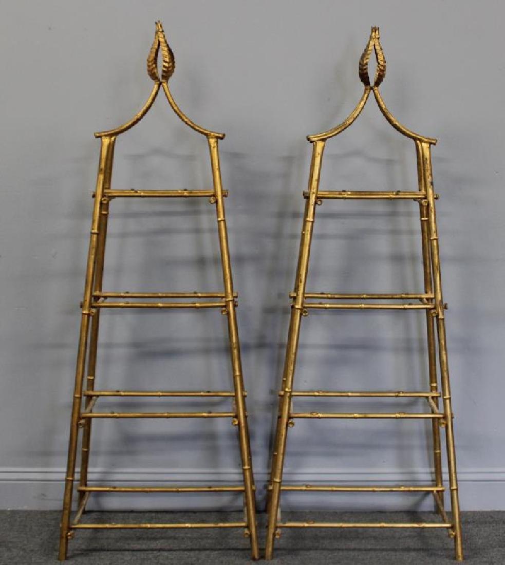 A Pair Of Gilt Metal Pyramid Form Etageres.