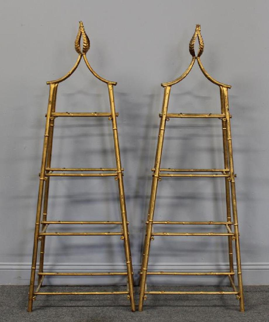 A Pair Of Gilt Metal Pyramid Form Etageres. - 2