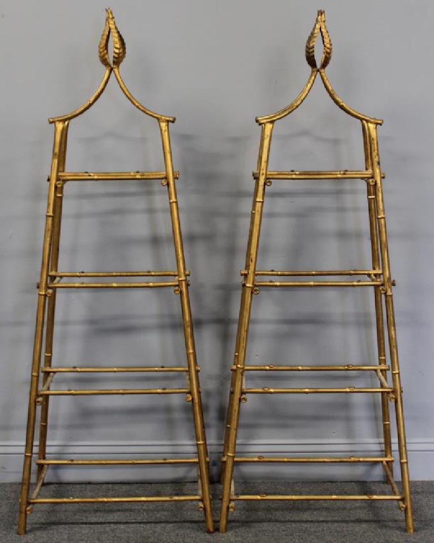 A Pair Of Gilt Metal Pyramid Form Etageres. - 3