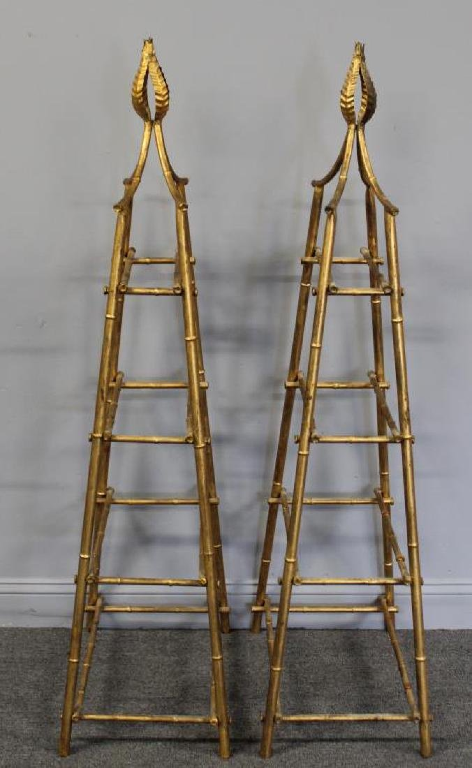A Pair Of Gilt Metal Pyramid Form Etageres. - 5