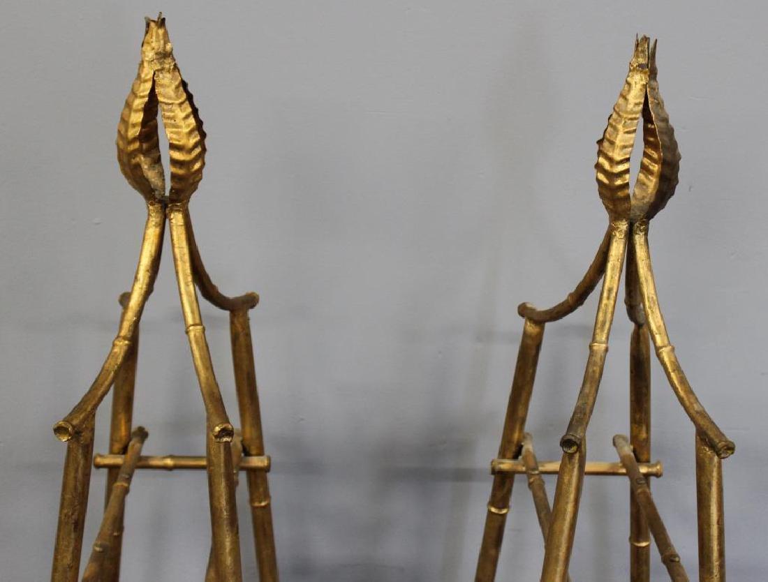 A Pair Of Gilt Metal Pyramid Form Etageres. - 6