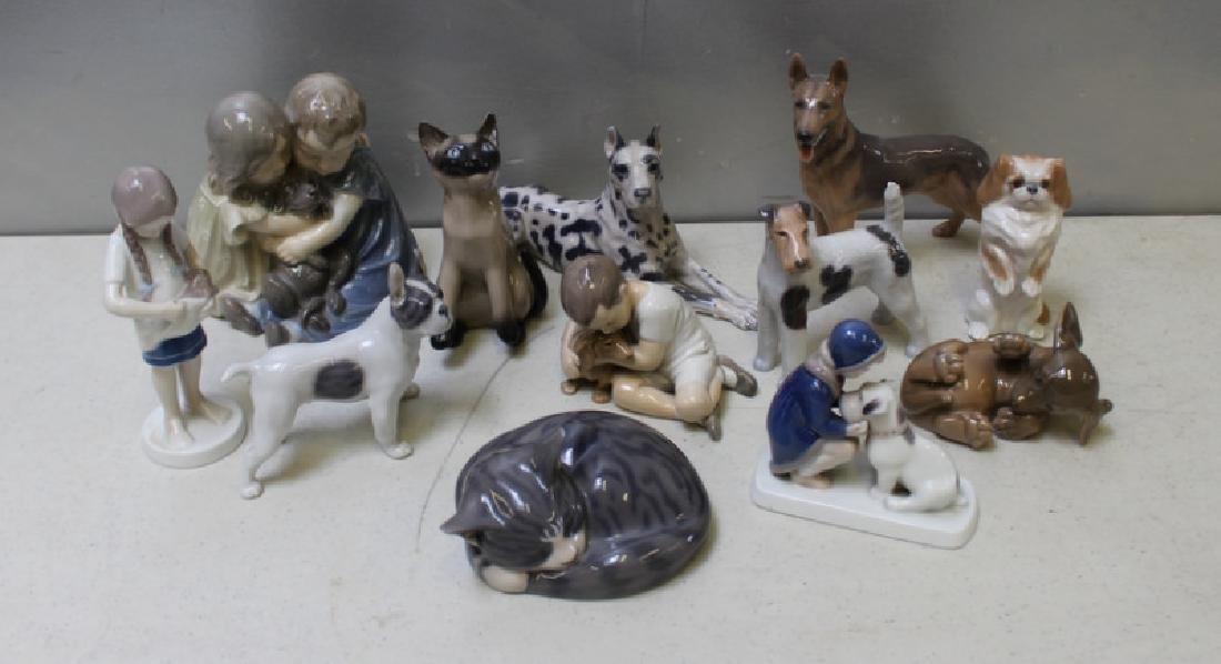 ROYAL COPENHAGEN. Lot of 9 Porcelain Figurines.