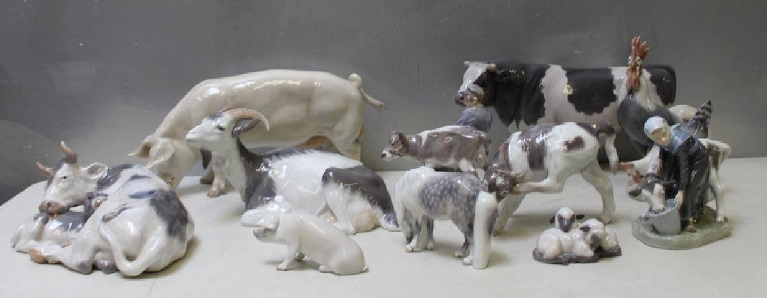 ROYAL COPENHAGEN. Lot of 11 Porcelain Animals.