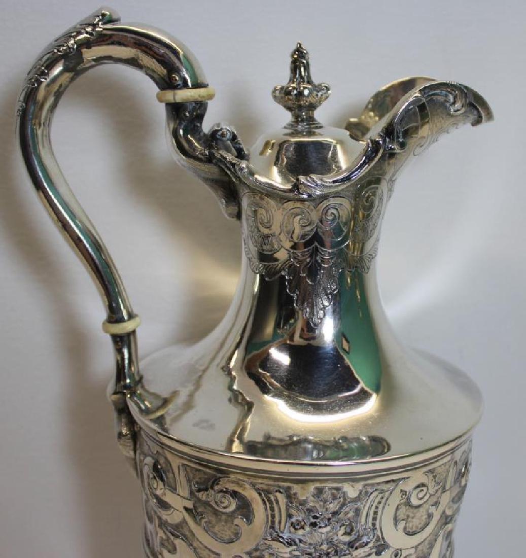 SILVER. Mid 19th C Glasgow Silver Pedestal Pitcher - 4