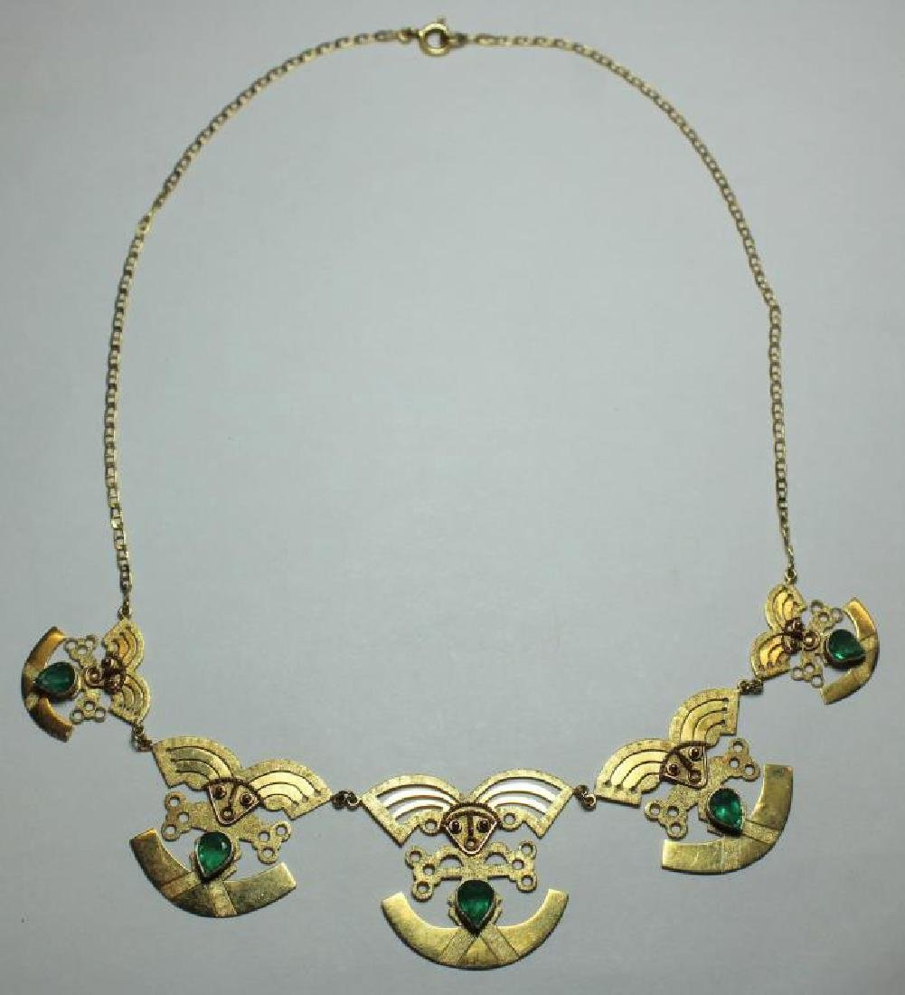 JEWELRY. 18kt Gold and Emerald Necklace.
