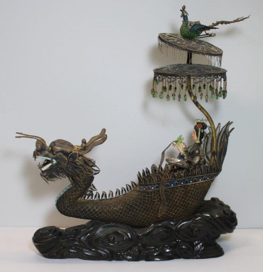 SILVER. Chinese Filigree Silver and Enamel Dragon