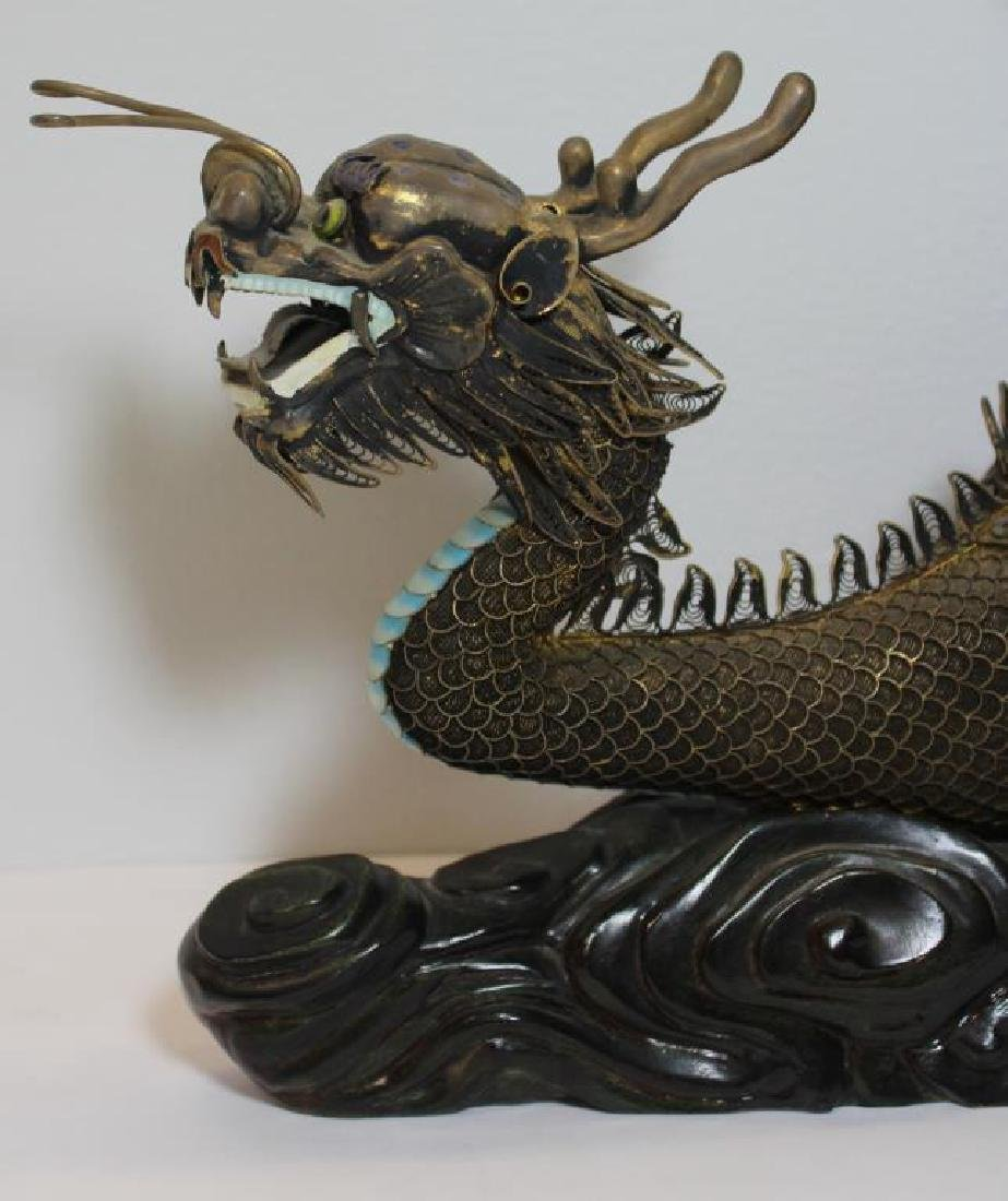 SILVER. Chinese Filigree Silver and Enamel Dragon - 3