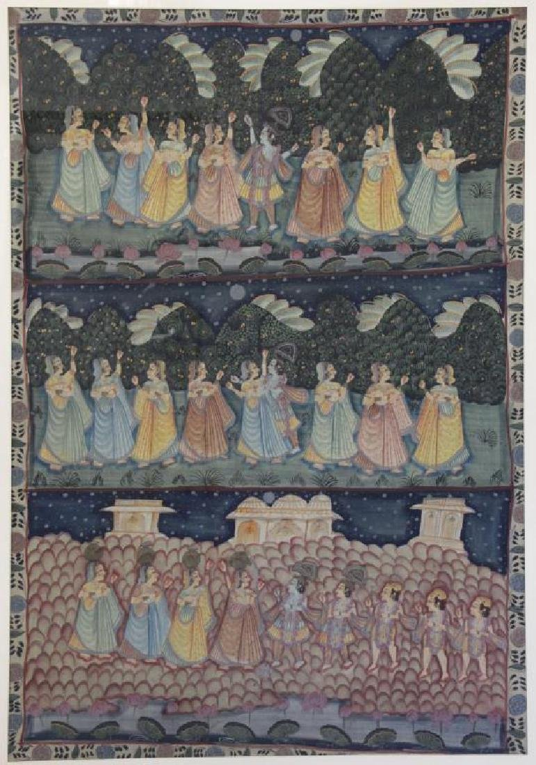 Hand Painted Indian Tapestry on Linen.