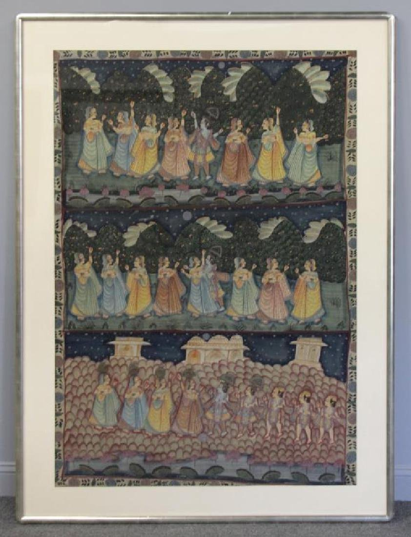 Hand Painted Indian Tapestry on Linen. - 2