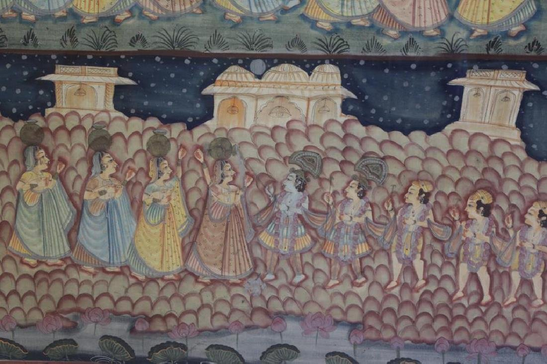 Hand Painted Indian Tapestry on Linen. - 5