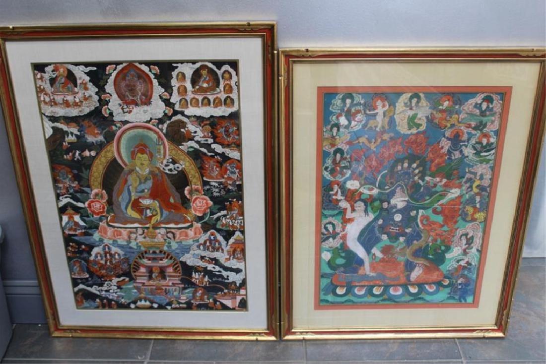 2 Framed Antique South East Asian Thangkas.