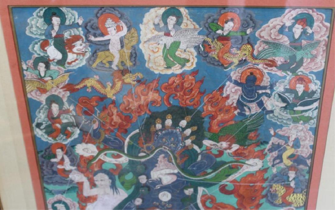 2 Framed Antique South East Asian Thangkas. - 3
