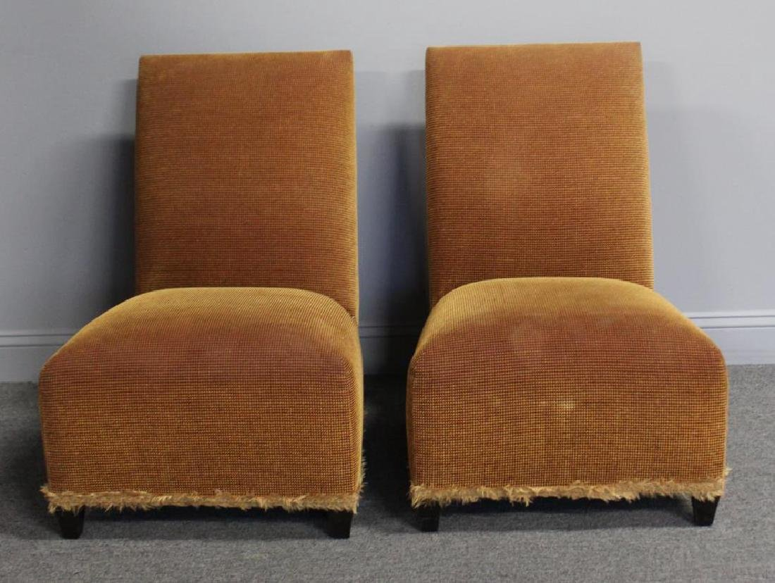 DONGHIA. Signed Pair of Upholstered Slipper