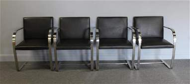 MIDCENTURY. Set Of 4 Knoll Brno Leather Chairs.