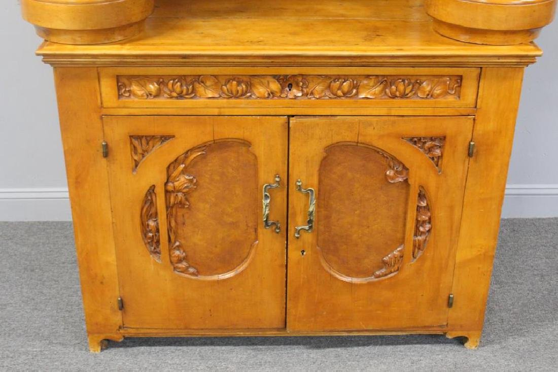 Highly Carved Art Nouveau Maple Bar. - 2