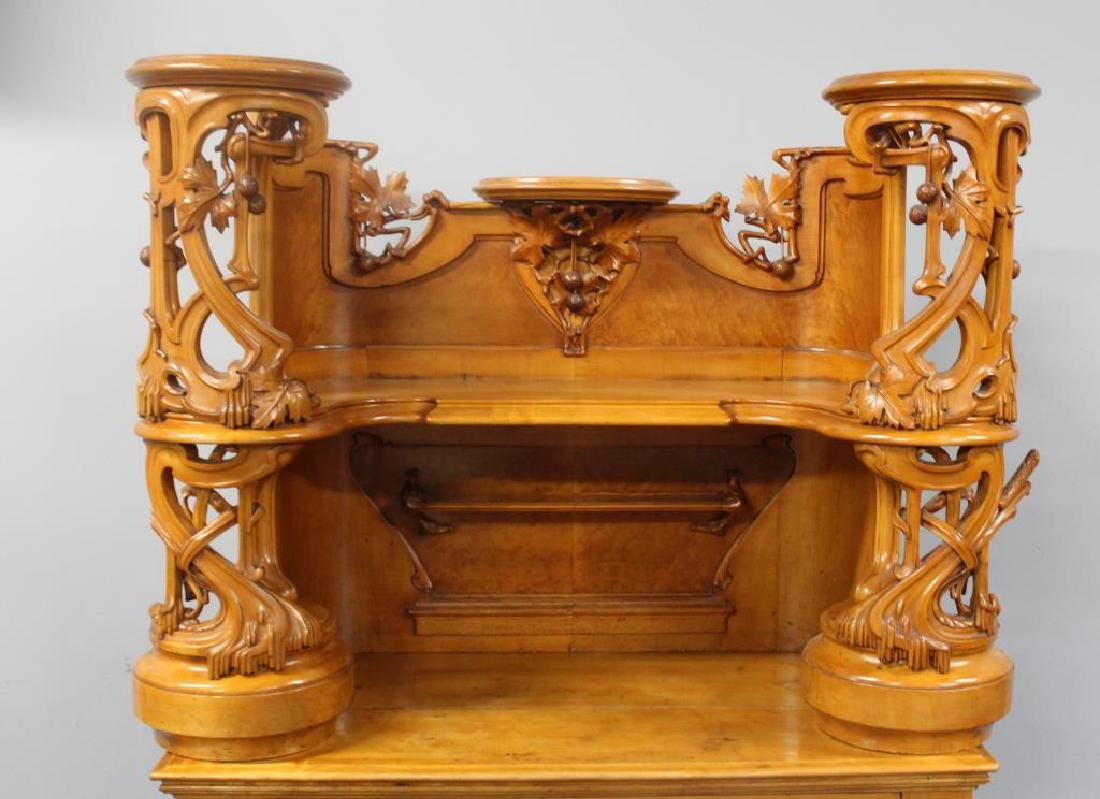 Highly Carved Art Nouveau Maple Bar. - 3