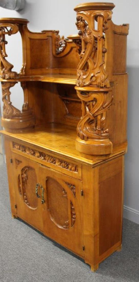 Highly Carved Art Nouveau Maple Bar. - 6