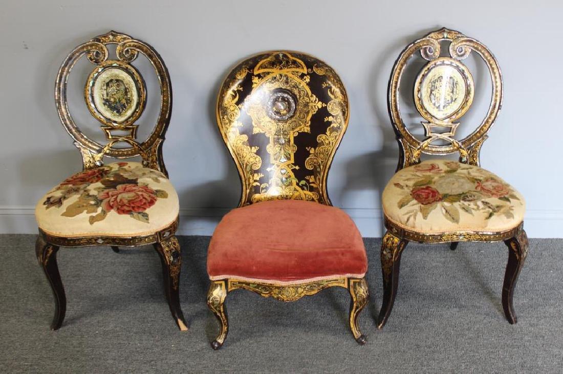 Antique Papier Machier Chair Lot To Inc.