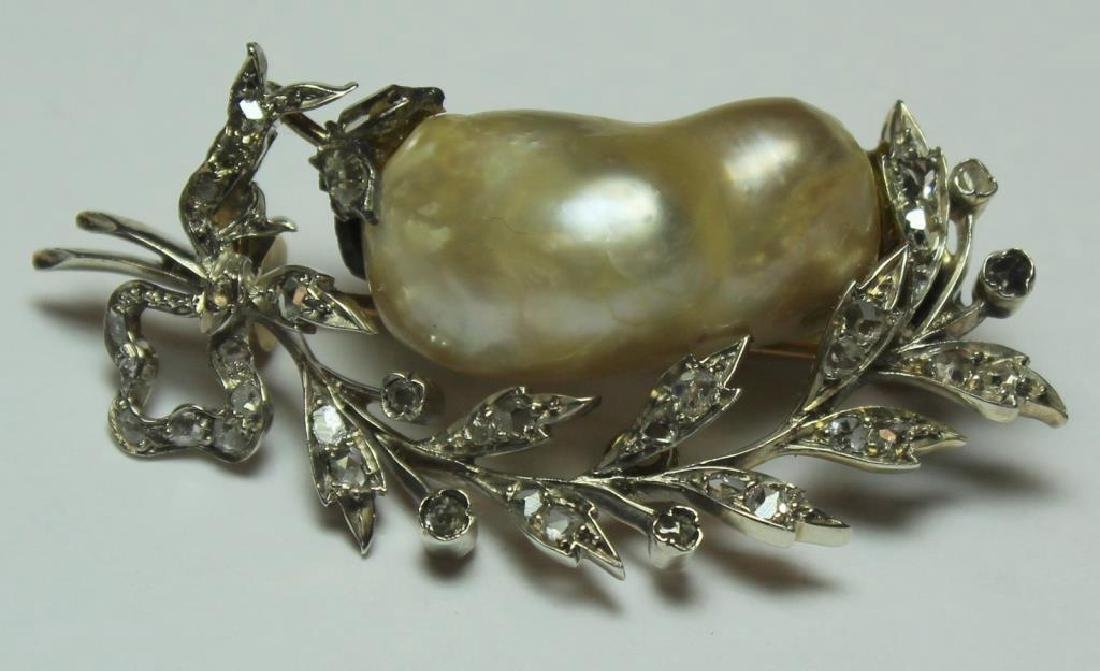 JEWELRY. Antique Baroque Pearl and Diamond Brooch.