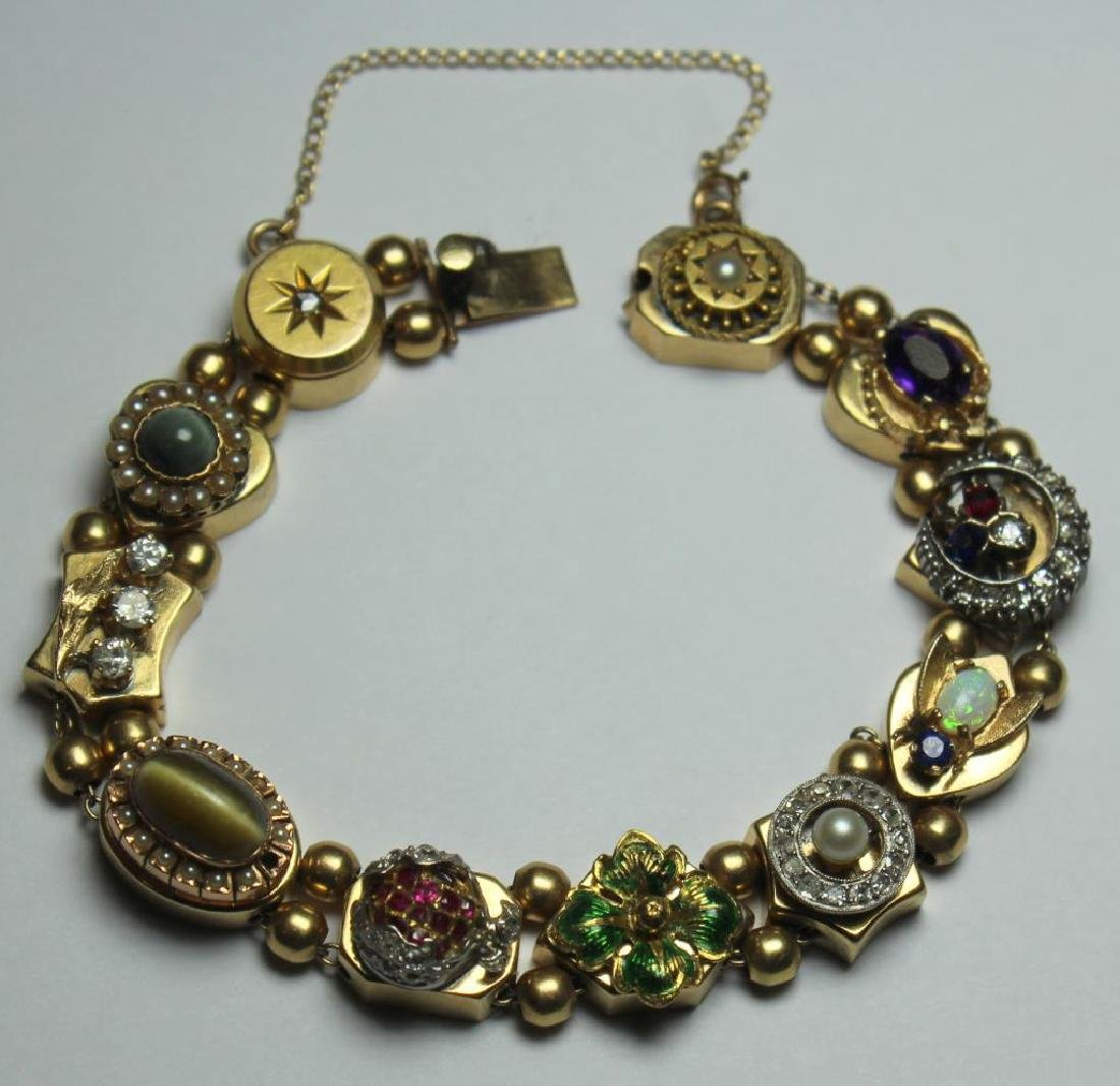 JEWELRY. 14kt Gold Victorian Slide Bracelet with