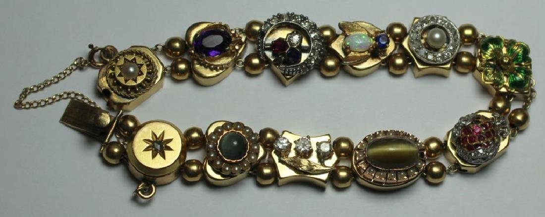 JEWELRY. 14kt Gold Victorian Slide Bracelet with - 2
