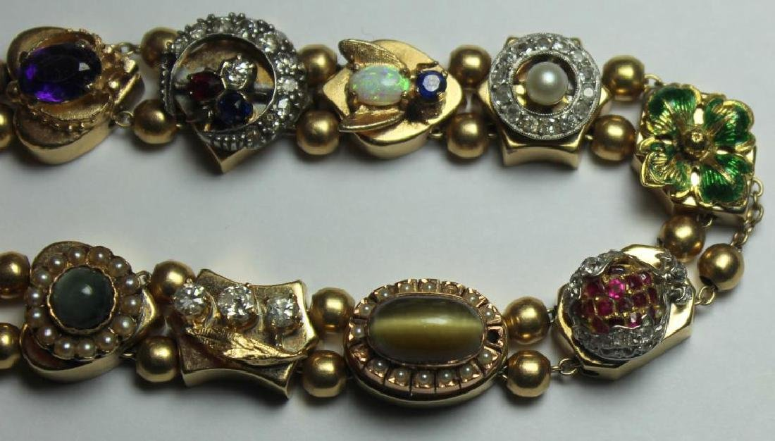 JEWELRY. 14kt Gold Victorian Slide Bracelet with - 3