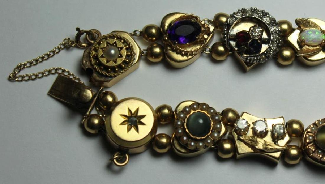 JEWELRY. 14kt Gold Victorian Slide Bracelet with - 4