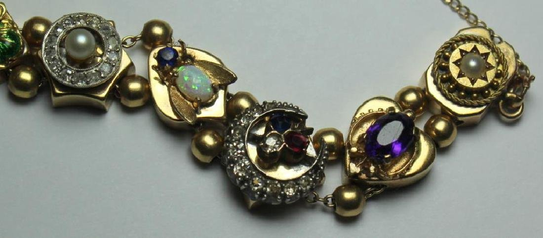 JEWELRY. 14kt Gold Victorian Slide Bracelet with - 6